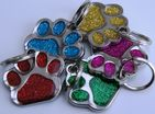 DOG TAG ENGRAVED GLITTER PAW SHAPED,  CHOICE OF COLOUR